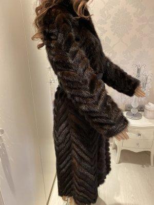 Abrigo de piel marrón-negro Pelaje