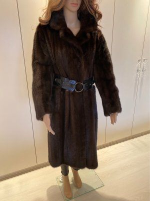 Abrigo de piel marrón-negro-marrón oscuro