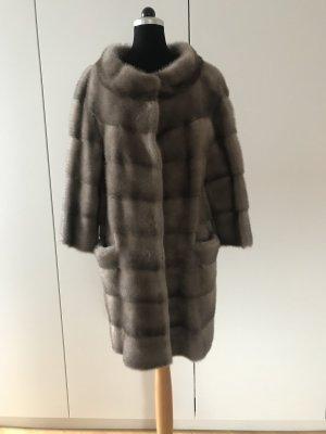 Rosenberg & Lenhart Futrzany płaszcz szary Futro
