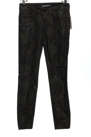 NetWork Spodnie z pięcioma kieszeniami czarny-khaki Zwierzęcy wzór