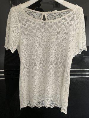 LOGG Siateczkowa koszulka biały-w kolorze białej wełny