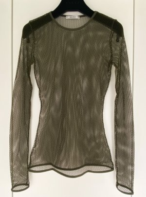 MaxMara Camisa de malla caqui-gris verdoso