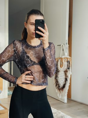 Netz Shirt Oberteil tshirt transparent Festival schlangenmuster Gothic sexy party mesh outfit