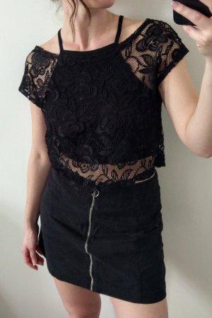 Amisu Gehaakt shirt zwart