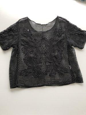 Brave Soul Crochet Shirt black