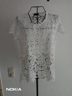 Janina Camisa de malla blanco