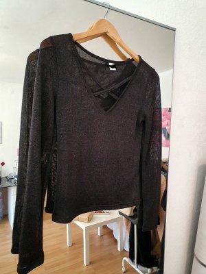 H&M Siateczkowa koszulka czarny-srebrny