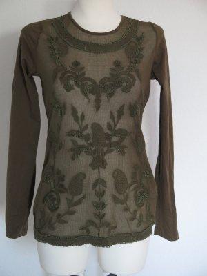 Netzshirt mit Häckelspitze in grün von Aniston Gr. 36 aus Baumwolle