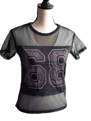 Sisley Siateczkowa koszulka czarny