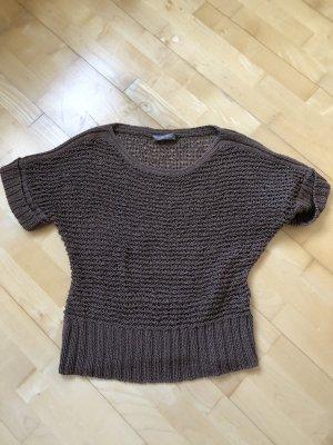 Hallhuber Sweter z krótkim rękawem ciemnobrązowy