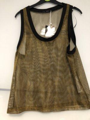 Zara Top de ganchillo negro-color oro