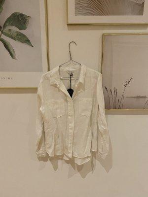 Neu 100% Leine Frogbox neu mit Etikett weiße Leinenbluse Bluse Hemd white Shirt white line Shirt oberteil