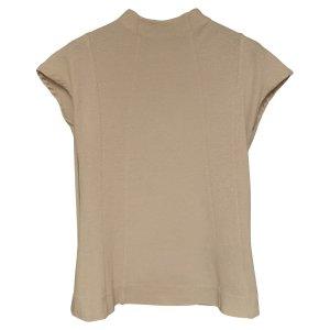 NEU 146€ ribbed glänzend Rollkragen Tank Top Shirt Korset Bustier Bluse Corsage Baumwolle T-Shirt Hemd Taupe