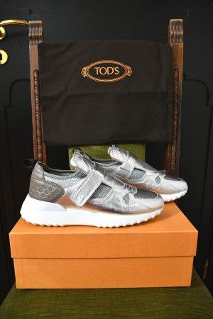 NEU 1570€ TOD'S Sneakers Turnschuhe Klettverschluss Schuhe 39,5 39 1/2 Silber