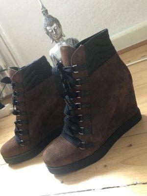NEU! 179€ UNISA Stiefeletten Stiefel Boots 100% Leder Keilabsatz Braun-schwarz gr. 37