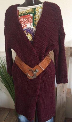 Cappotto a maglia bordeaux Lana d'alpaca