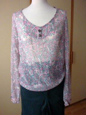 NEU 3Suisses Bluse Tunika Chiffon Gr 40 38 42 milles fleur Streublümchen Mint pink grau transparent sexy hippie boho