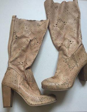 Biondini Laarzen met hoge hakken beige Leer