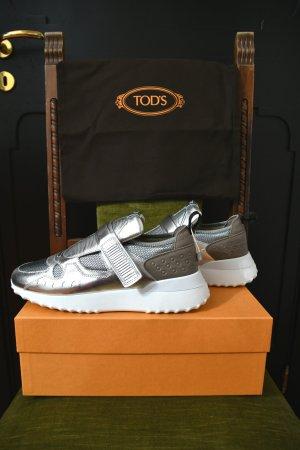 Tod's Zapatillas con hook-and-loop fastener color plata-marrón grisáceo