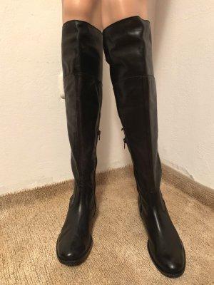 NEU 720€ Donna Piu italienische Overknee Echtleder Nappaleder Strumpfstiefel Stiefel Combat Boots