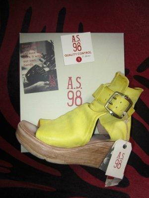 A.S.98 Sandalo alto con plateau giallo Pelle