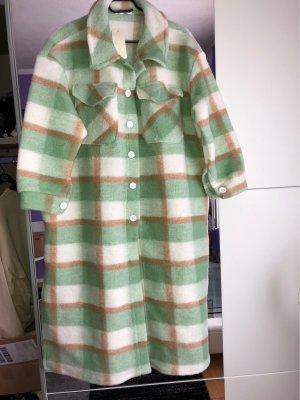 Manteau polaire blanc-vert menthe