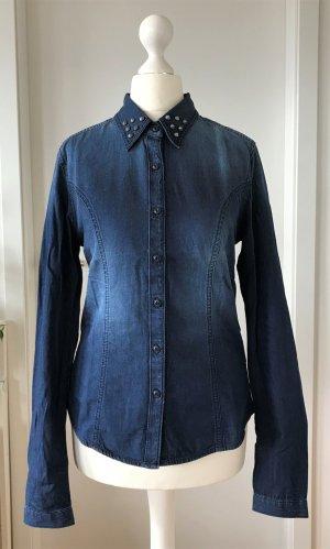 Adidas NEO Denim Blouse dark blue-blue cotton