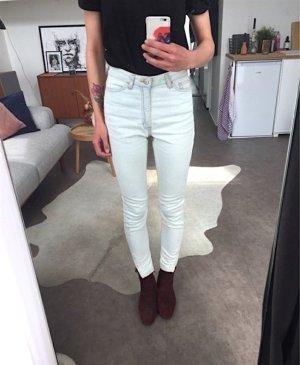 American Apparel Jeans taille haute blanc-bleu azur