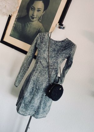 American Retro Vestido de tela de sudadera blanco-gris pizarra