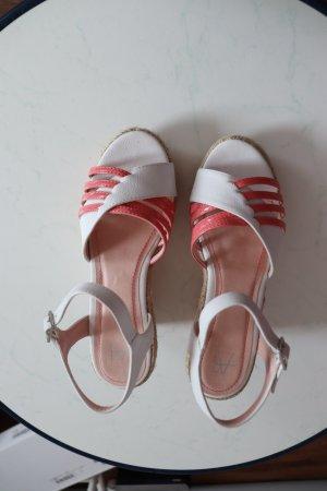 NEU Anna Field Sandaletten mit Keilabsatz rosa/weiß Riemchen Gr. 38