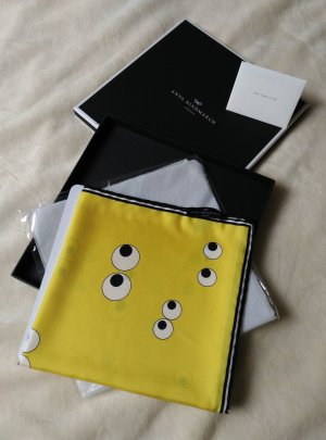 NEU! ANYA HINDMARCH Schal Tuch Scarf gelb 100% Seide Made in Italy