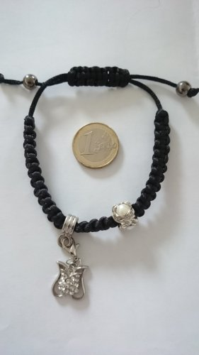 Charm Bracelet black-silver-colored textile fiber