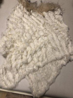 Manteau de fourrure blanc cassé-crème