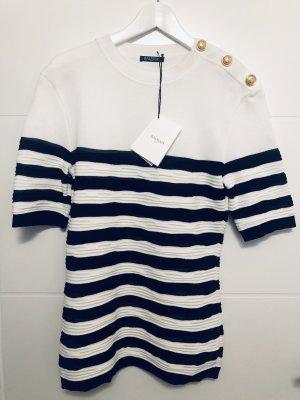 Balmain Jersey de manga corta blanco-negro Viscosa