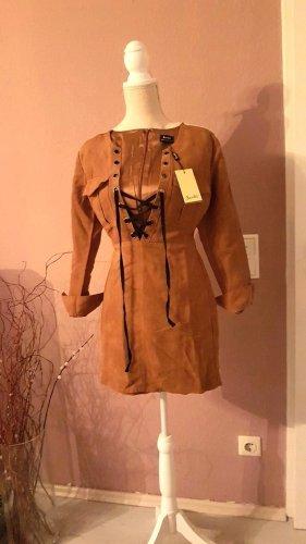 Bardot Leren jurk veelkleurig Gemengd weefsel