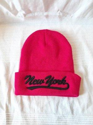 NEU Beanie Mütze Winter Wintermütze Cap pink rosa New York