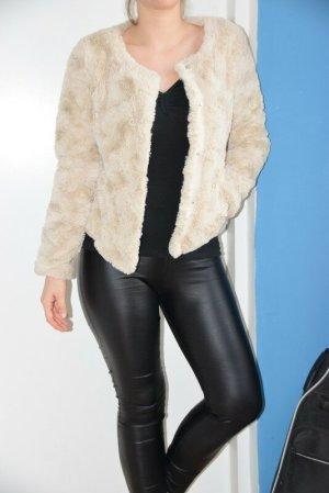 Vero Moda Kurtka ze sztucznym futrem jasnobeżowy Tkanina z mieszanych włókien