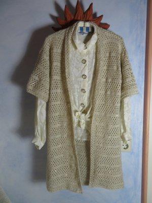 Vintage Szydełkowany sweter jasnobeżowy-złoto