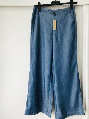 Neu! Benetton Damen Jeans blau Denim dünn Sommer S 36/38 W28 weites Bein flared