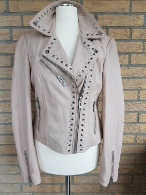 Marie Lund Giacca in pelle beige