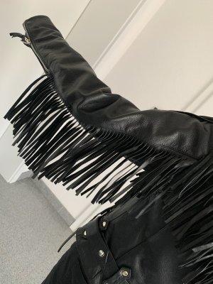 Biker Jacket black-silver-colored leather