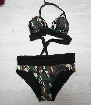 Bikini negro-verde oscuro