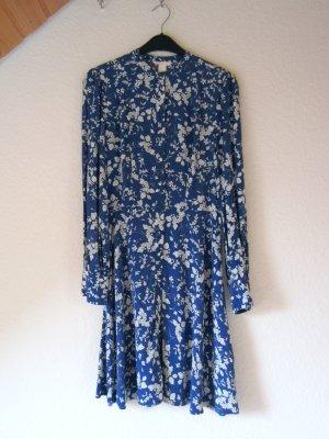 NEU: Blaues Blusenkleid mit Blumen-Muster