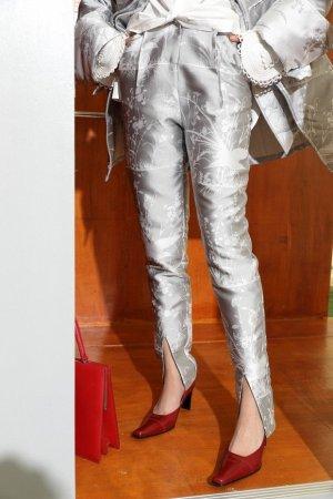 Unikat Pantalone a sigaretta argento Poliestere