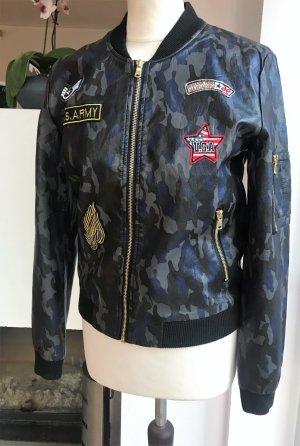 NEU ! Blouson Leder Jacke camouflage blau oliv antharzit   Gr S / M 36 38