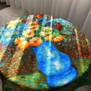 Lily Panno di seta verde bosco-blu fiordaliso