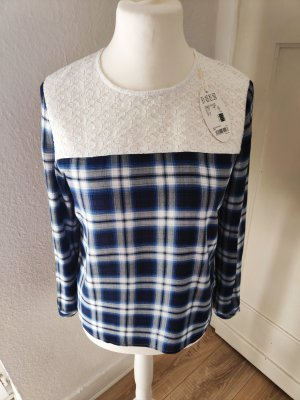 NEU Bluse karierte Hemdbluse mit Spitze schwarz blau weiß Größe 36