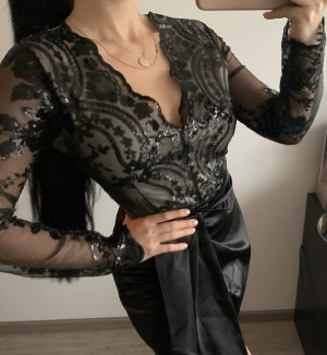 Neu Body Bluse spitze Lace Pailetten Glitzer schwarz