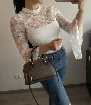 Neu Body Shirt Bluse Lace spitze weiss mit Kragen und weiten Ärmeln Fashion Nova