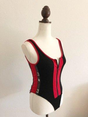 NEU Body top mit Reißverschluss schwarz rot Größe M 36 38 40 Stretch Blogger